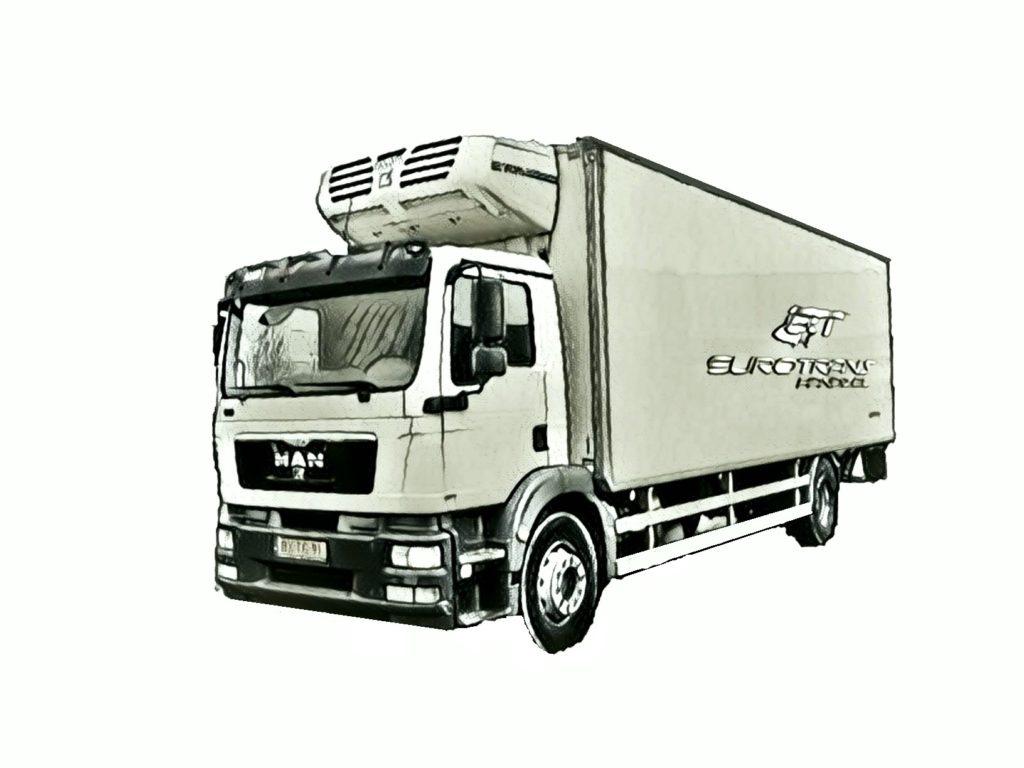 Pojazd typu chłodnia przeznaczony do transportu chłodniczego, należy do floty EuroTrans
